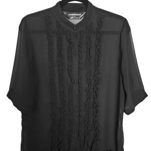 Norma Kamali Sheer Black Ruffle Blouse, Sz Large